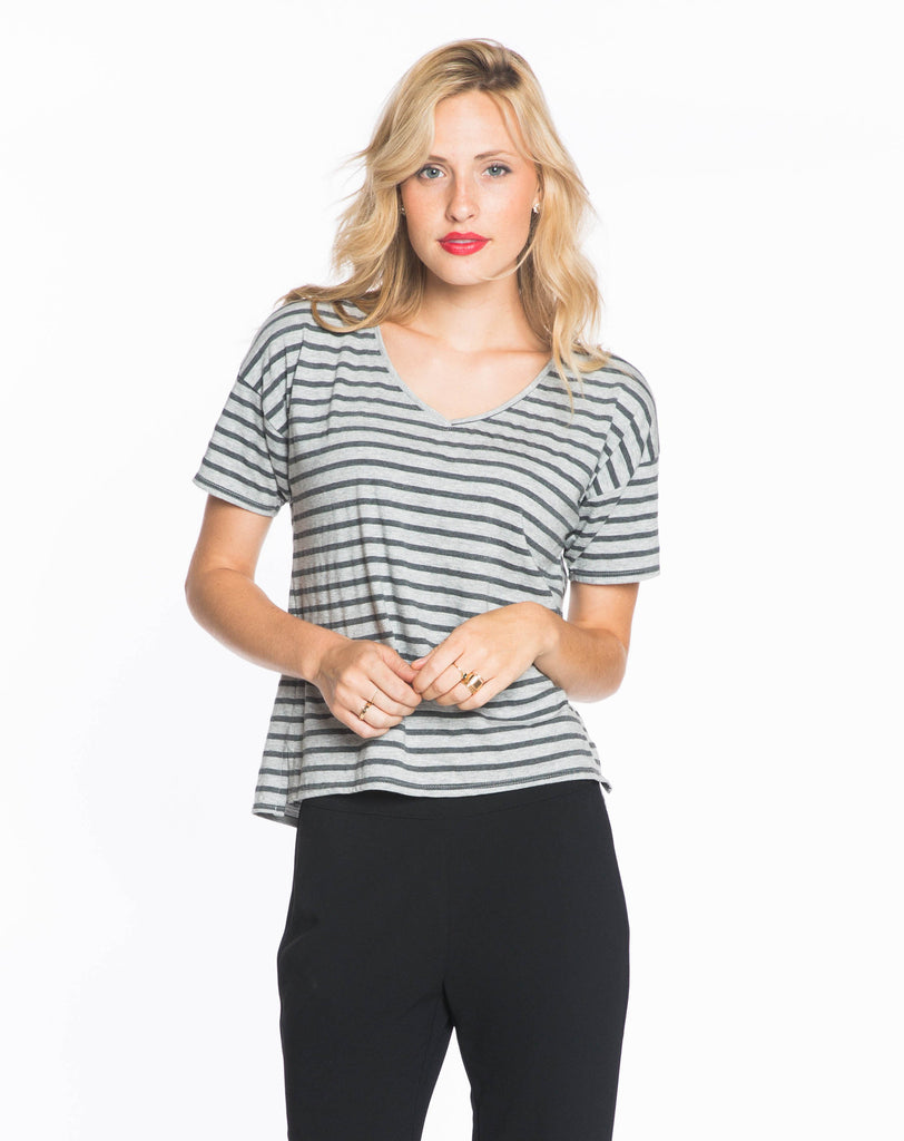 Martha V-neck - Heather Grey and Charcoal Stripe