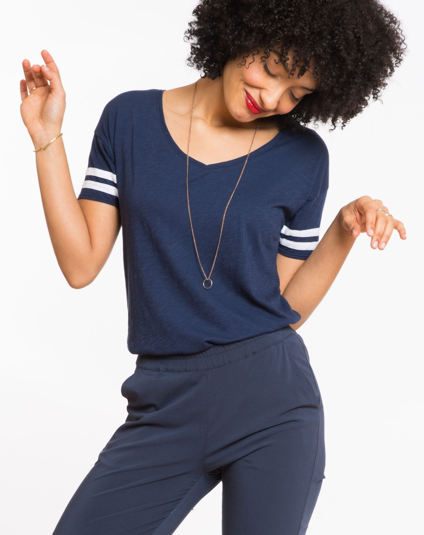 Varsity Stripe Martha V-Neck - Mood Indigo