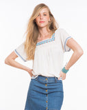 Maricate Embroidered Peasant Top