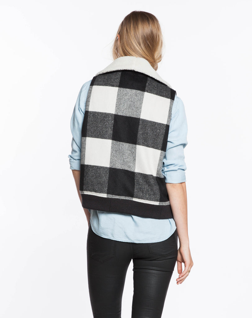 Buffalo Check Vest - Black and White