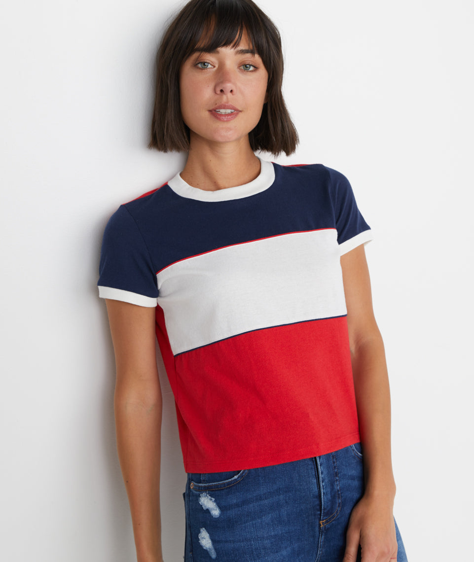 Re-Spun Blocked Striped Tee
