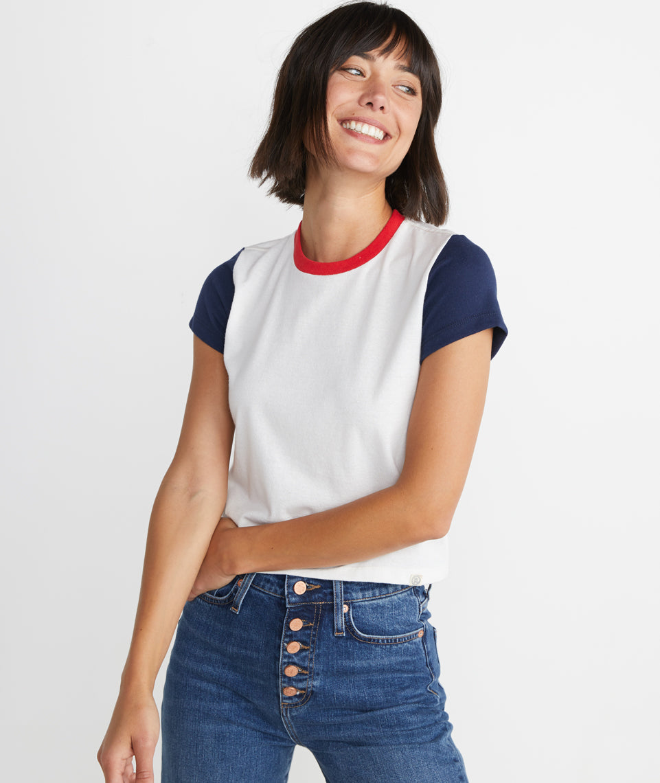 Re-Spun Colorblock Crop Crew