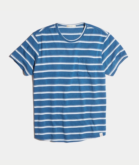 Saddle Pocket Tee in Indigo Stripe