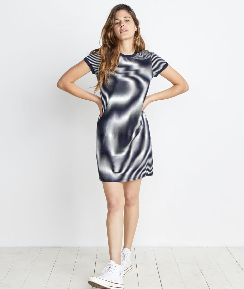 Sandra T-Shirt Dress in Navy/White