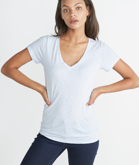 Slub V-neck - Halogen Blue