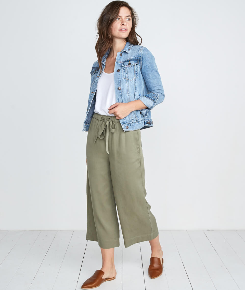 Spruce Wide Leg Pant in Dusty Olive