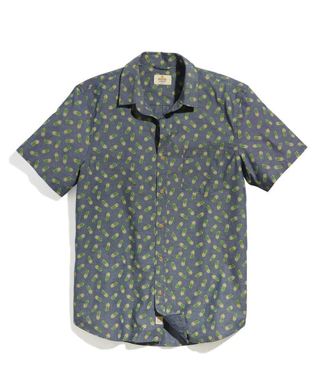 Short Sleeve Chambray Shirt in Pineapple Print