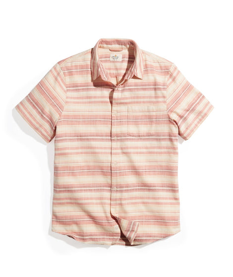 Short Sleeve Selvage Shirt in Warm Ombre Stripe