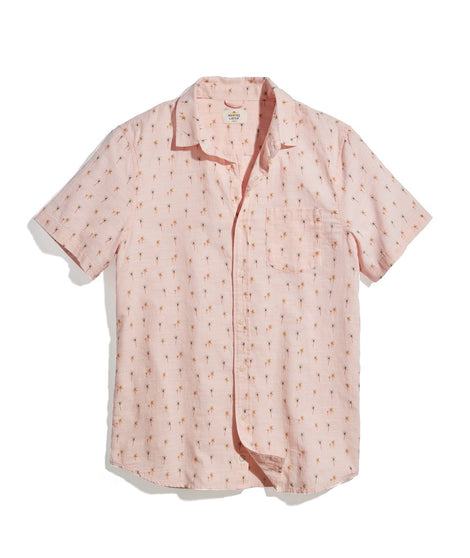 Lightweight Cotton Shirt in Faded Pink Palm Print