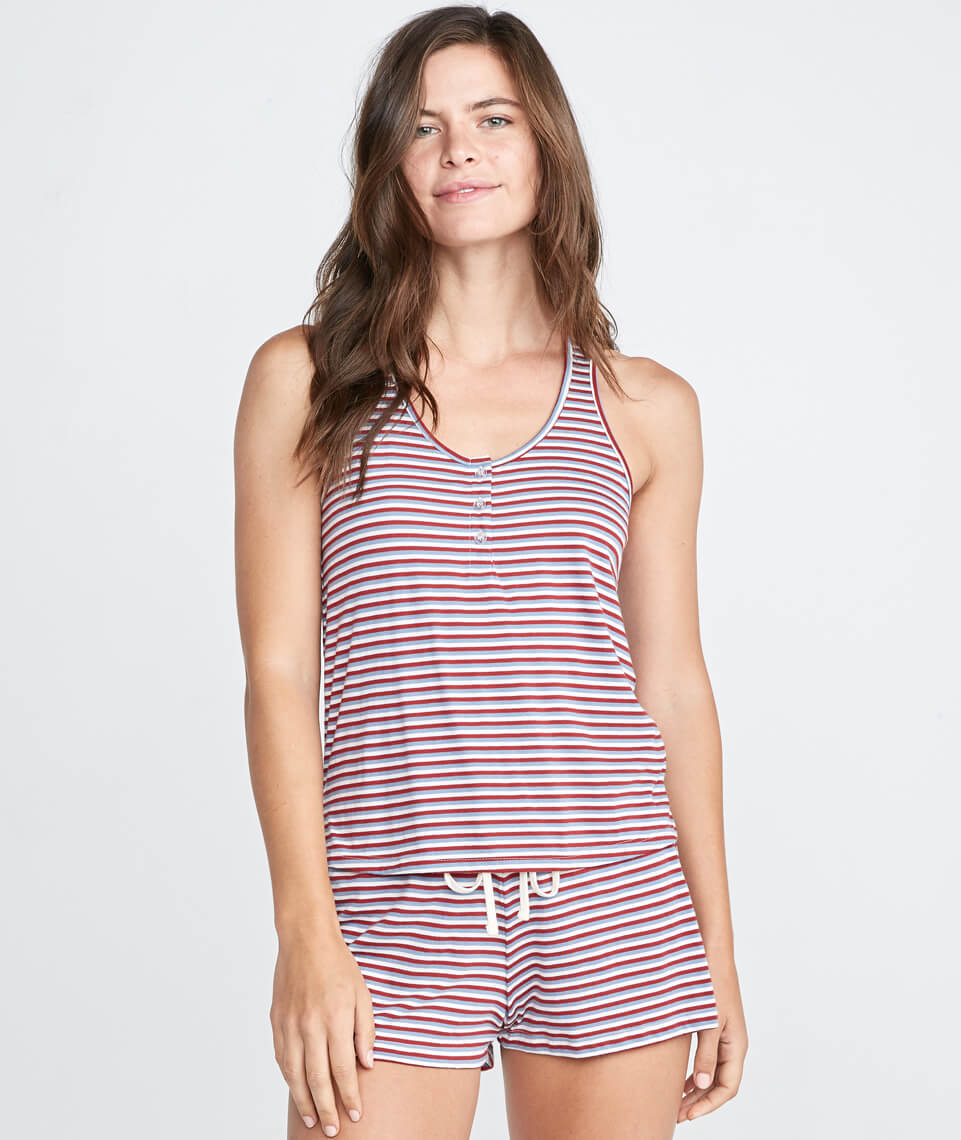 Sunday PJ Tank in Rosewood Stripe