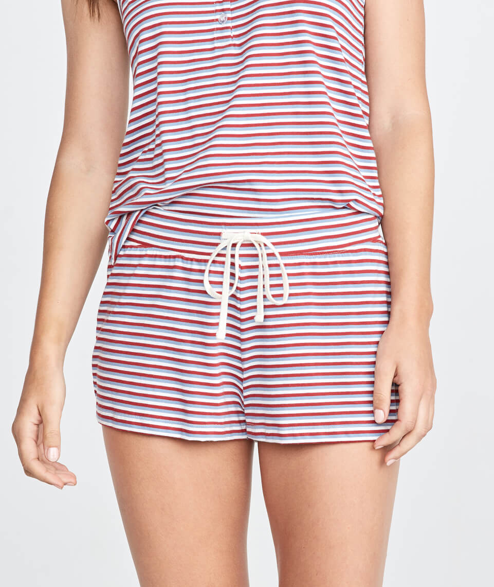 Sunday PJ Short in Rosewood Stripe