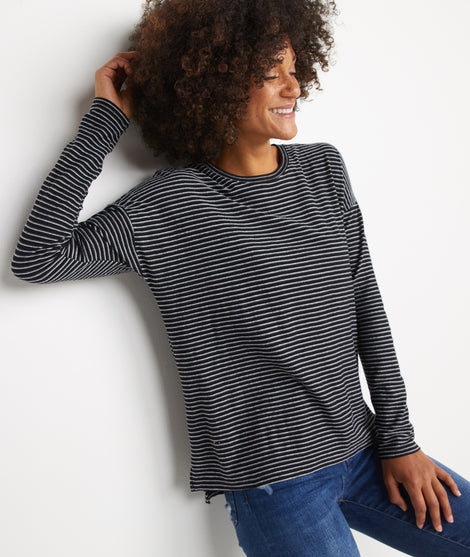 Suzanna Crew in Black/Grey Stripe