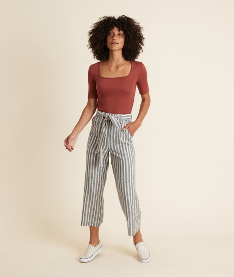 Shelly Belted Wide Leg Pant in Black/White Mini Stripe