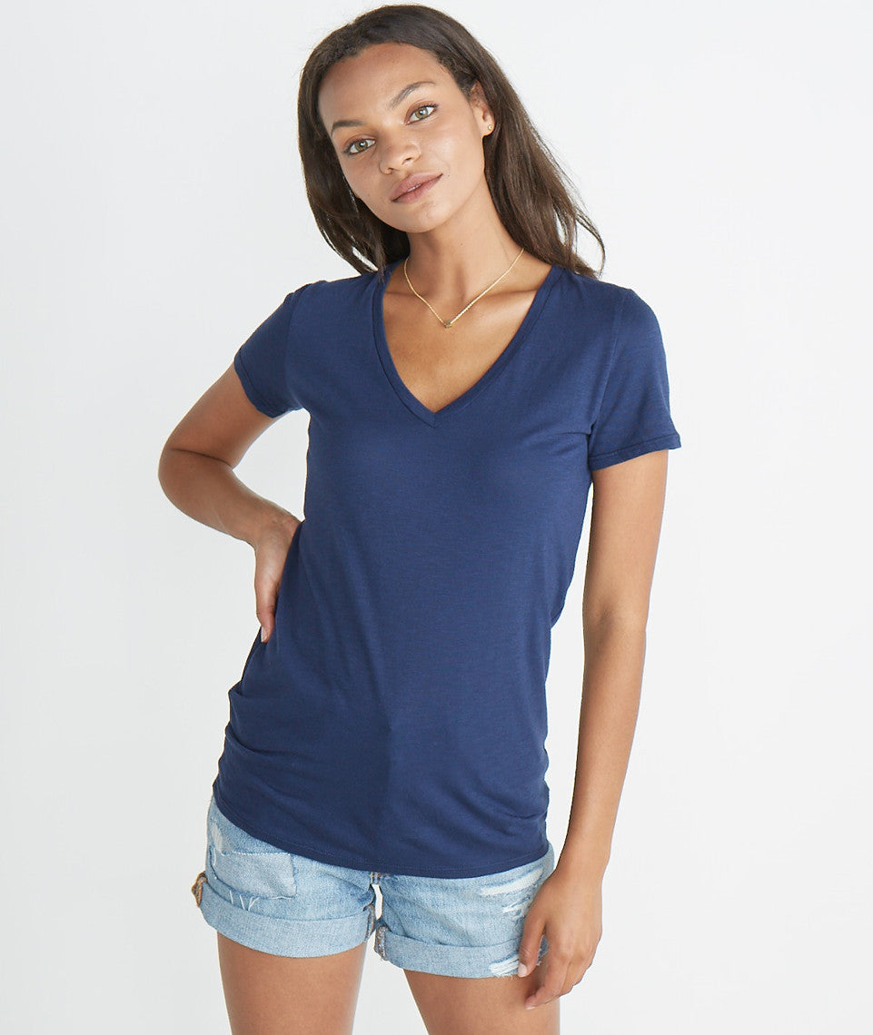 Slub V-Neck Tee - Mood Indigo
