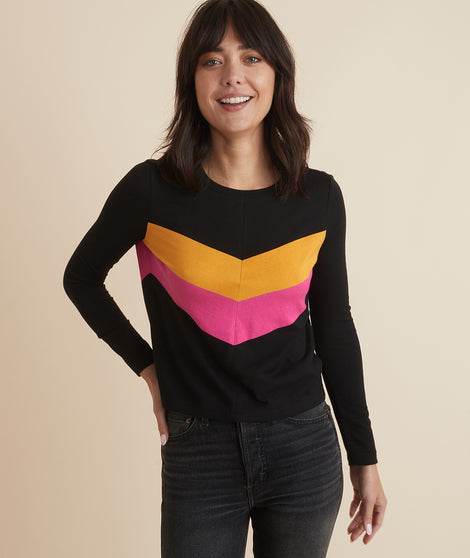 Deb Chevron Top in Black