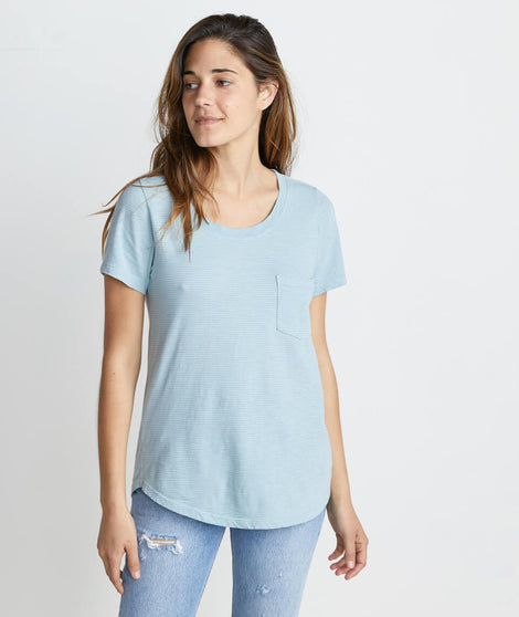 Boyfriend Pocket Tee in Aquamarine