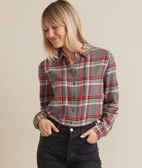 Viola Relaxed Shirt in Rainbow Plaid
