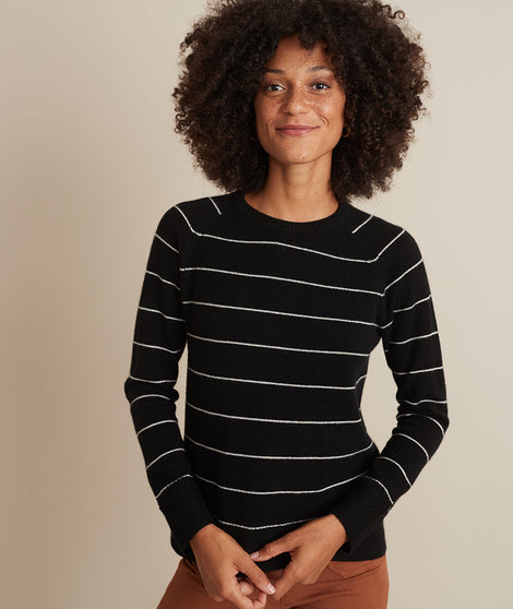Maya Cashmere Swing Sweater in Black/White Stripe