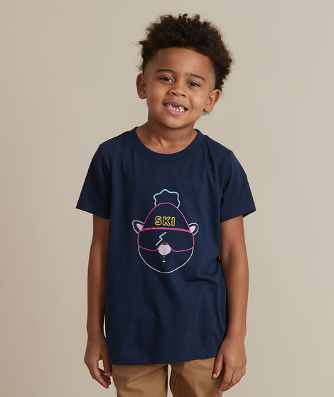 Mini Ski Crew Tee in Navy