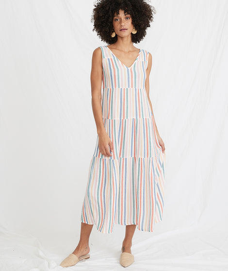 Corinne Maxi Dress in Multi Stripe