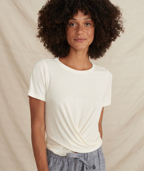 Brielle Front Twist Top in Cream White