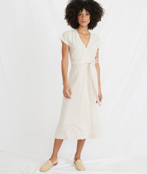 Maddie Wrap Dress in Oatmeal/Peach Stripe