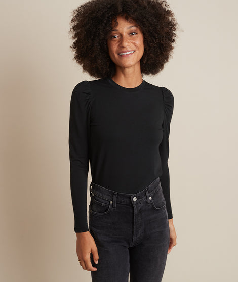 Celeste Ruffle Sleeve Top in Black