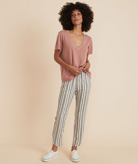 Allison Pant in White/Navy Stripe