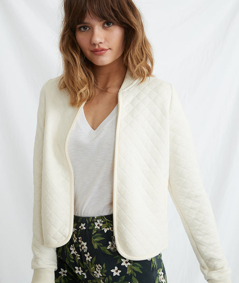 Mya Quilted Swing Bomber in Antique White