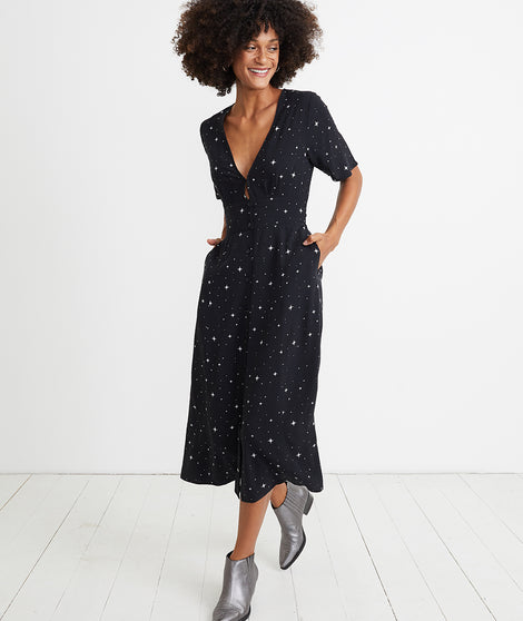 Isabella Dress in Black Starry Print