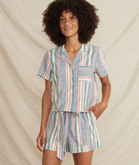 Lucy Resort Button Down in Multi Stripe