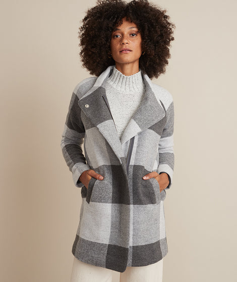 Stephanie Cocoon Coat in Grey Buffalo Check