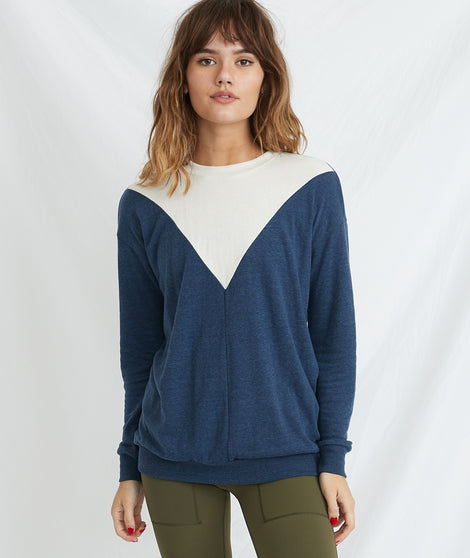Lina Double Knit Crew in Navy/Natural