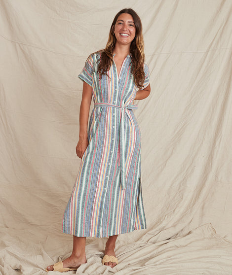 Simone Dress in Multi Stripe