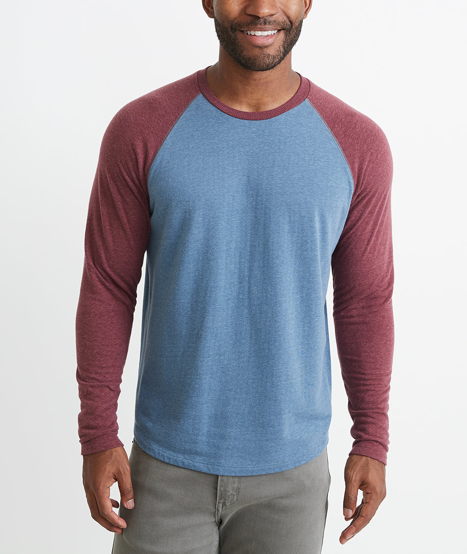Double Knit Baseball Raglan in Bering Sea/Tawny Port