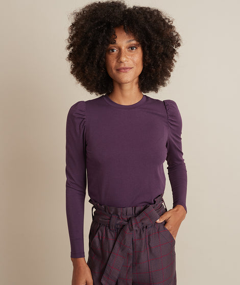 Celeste Ruffle Sleeve Top in Dark Purple