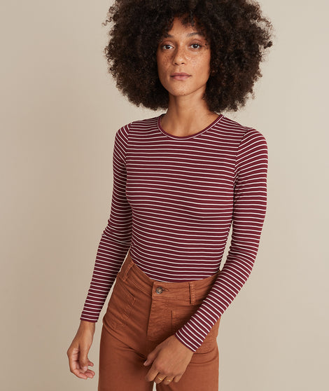 Lexi Rib Long Sleeve Crew in Cabernet/White