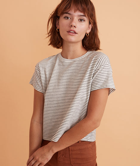 Lydia Textured Stripe Top in Cream/Heather Grey