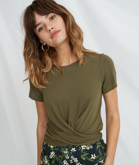 Brielle Twist Front Tee in Dusty Olive