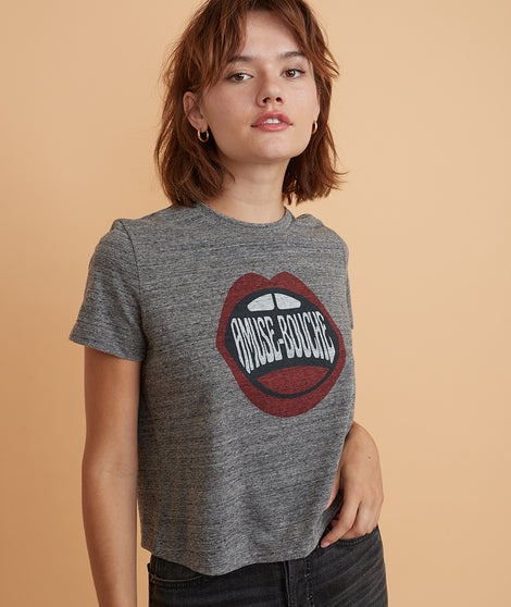 Re-Spun Amuse Crop Tee in Heather Grey