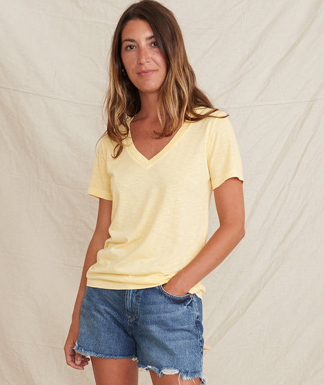 V-Neck Tee in Lemon Drop