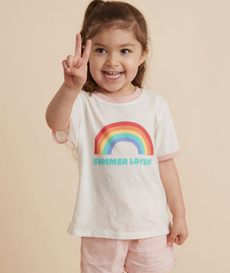 Mini Rainbow Ringer Tee in White