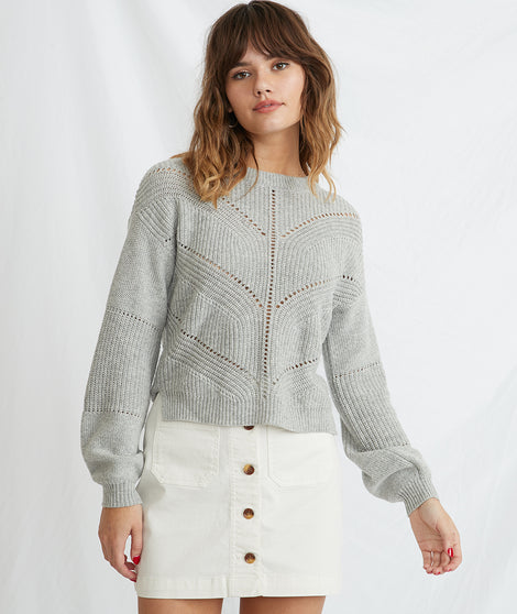 Olivia Crewneck Sweater in Light Heather Grey