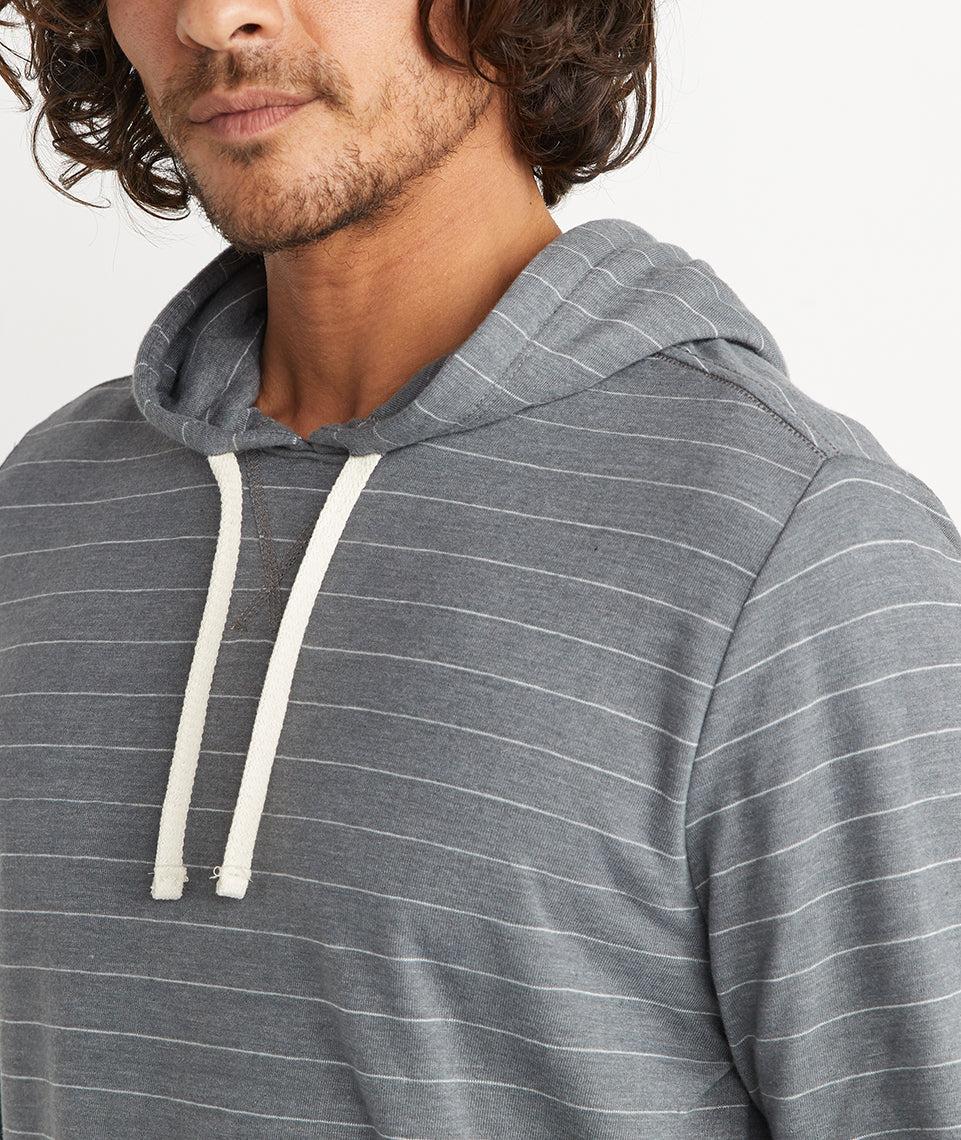 Double Knit Hoodie in Magnet/White Stripe
