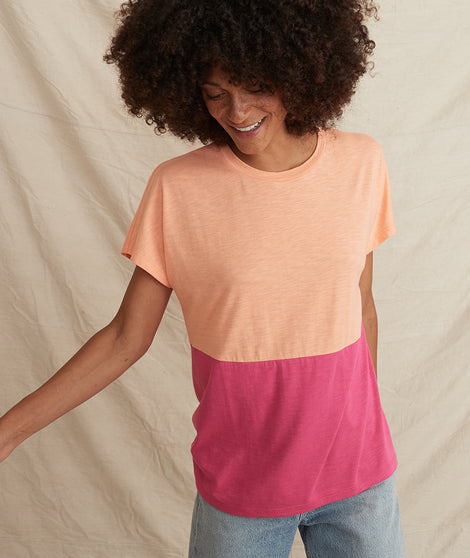 Caitlyn Tee in Papaya Punch/Lilac Rose