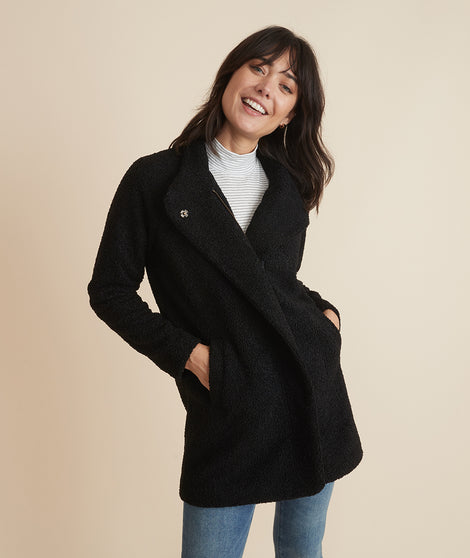 Stephanie Cocoon Coat in Black Sherpa