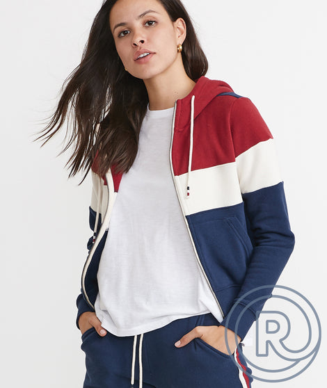 Re-Spun Full Zip Hoodie in Red/White/Blue