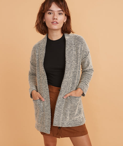 Birdseye Cardigan in Black/Cream