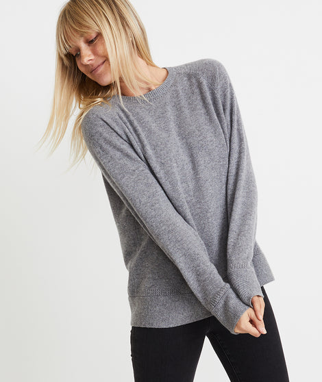 Maya Cashmere Swing Crew in Light Heather Grey