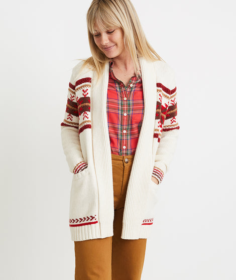 Brooklyn Cardigan in Cream Fair Isle